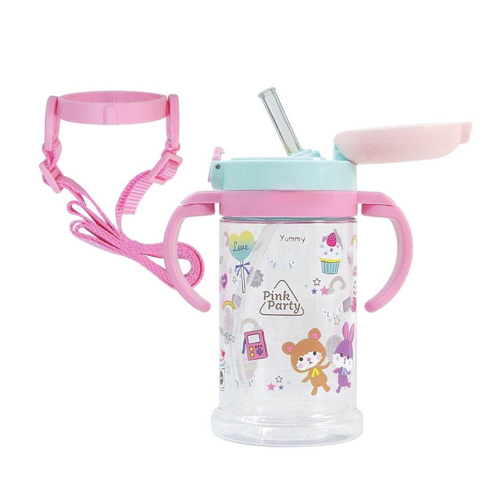 日本 SKATER - 寬底吸管杯(370ml)-粉紅派對