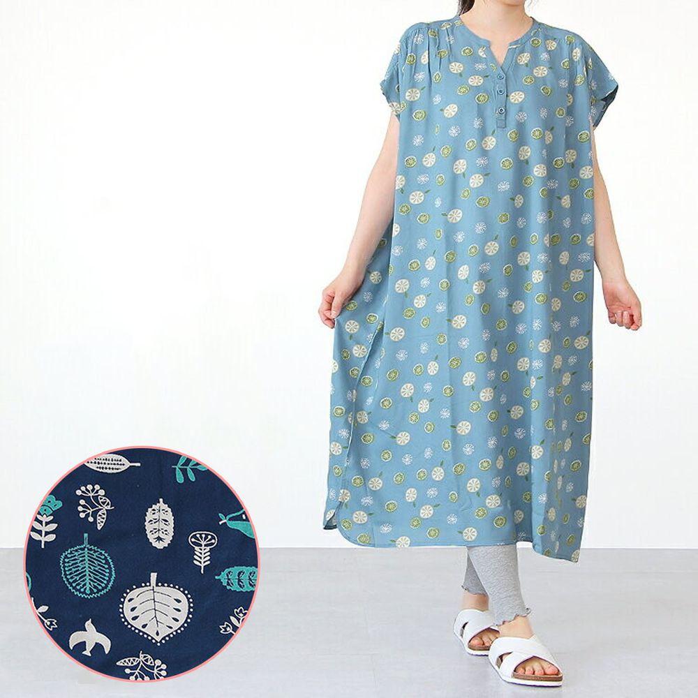 日本女裝代購 - COOL 涼感柔軟舒適家居短袖洋裝/睡衣-北歐森林-深藍 (M-L Free)