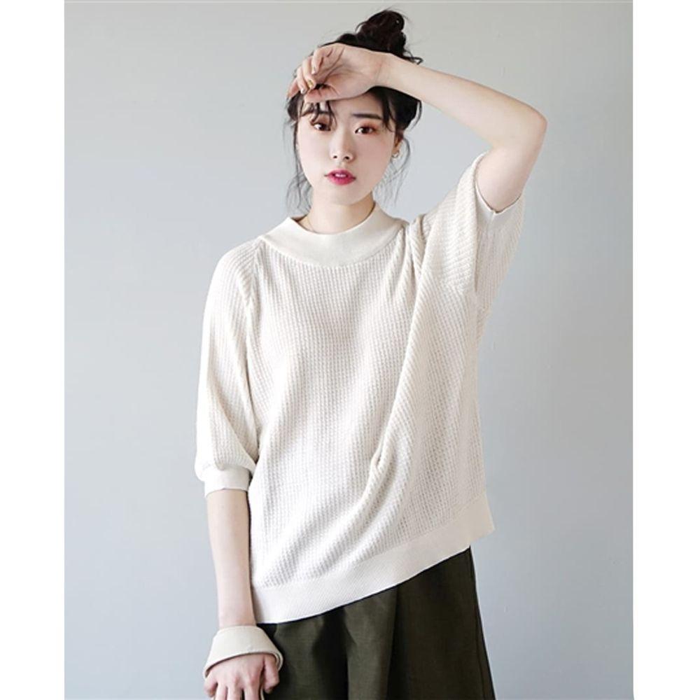 日本 zootie - 涼感防曬速乾 顯瘦五分袖上衣-白 (F)