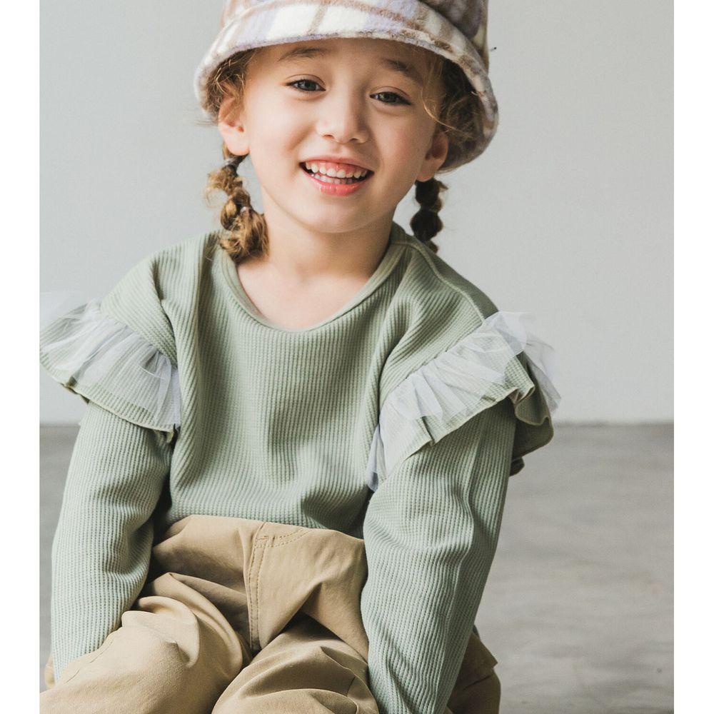 日本 PAIRMANON - 上臂荷葉薄紗層次鬆餅紋長袖上衣-薄荷