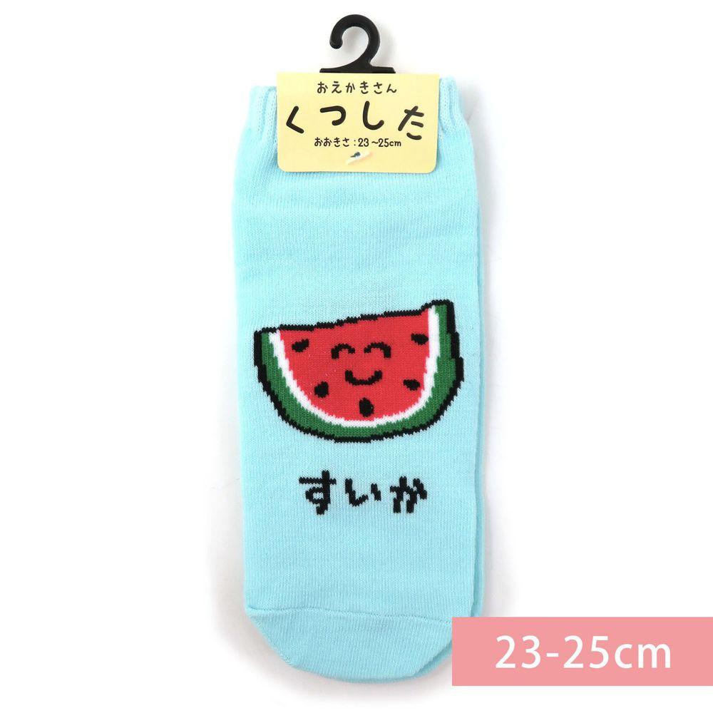 日本 OKUTANI - 童趣日文插畫短襪-西瓜-水藍 (23-25cm)