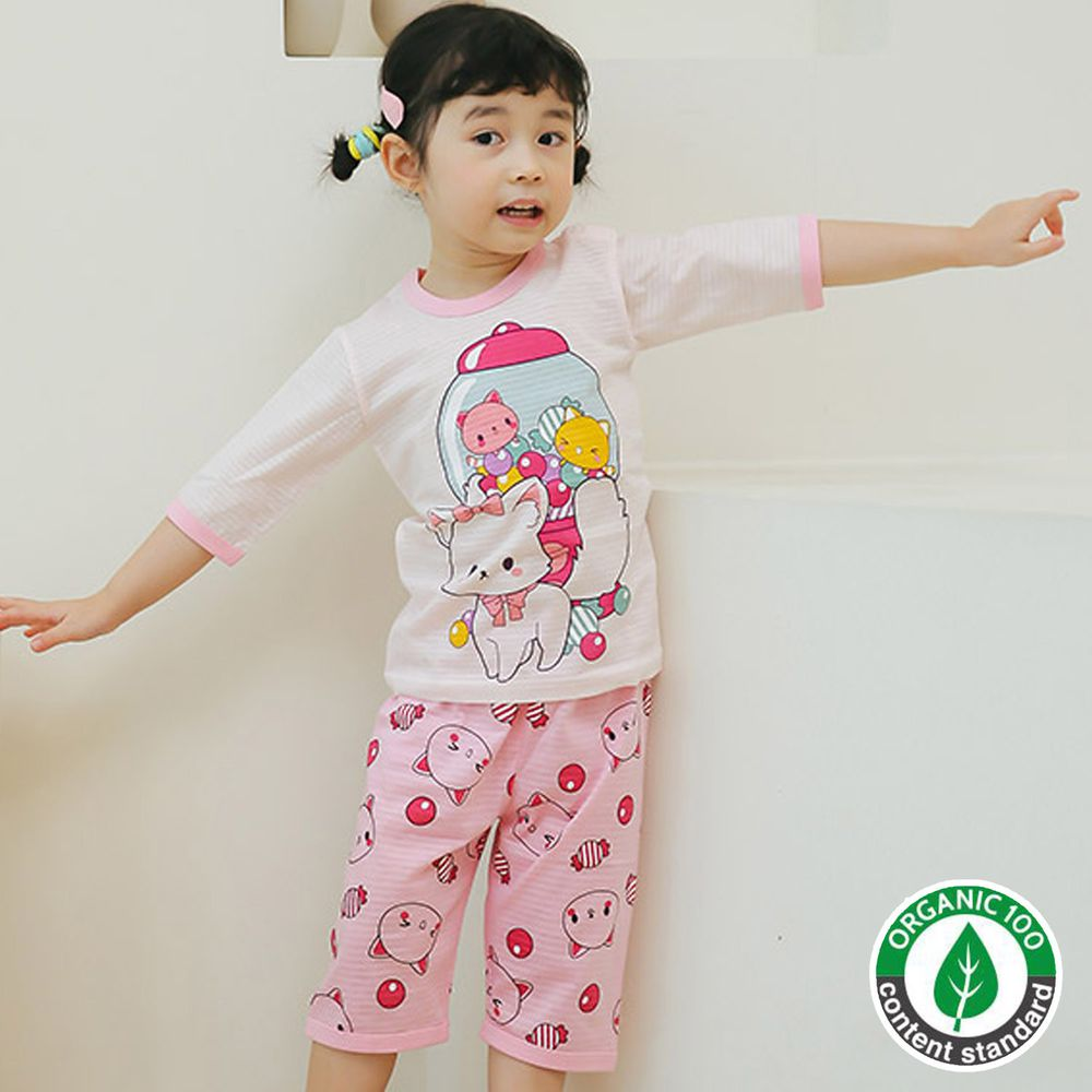 韓國 Puco - 有機棉透氣七分袖家居服-泡泡貓咪