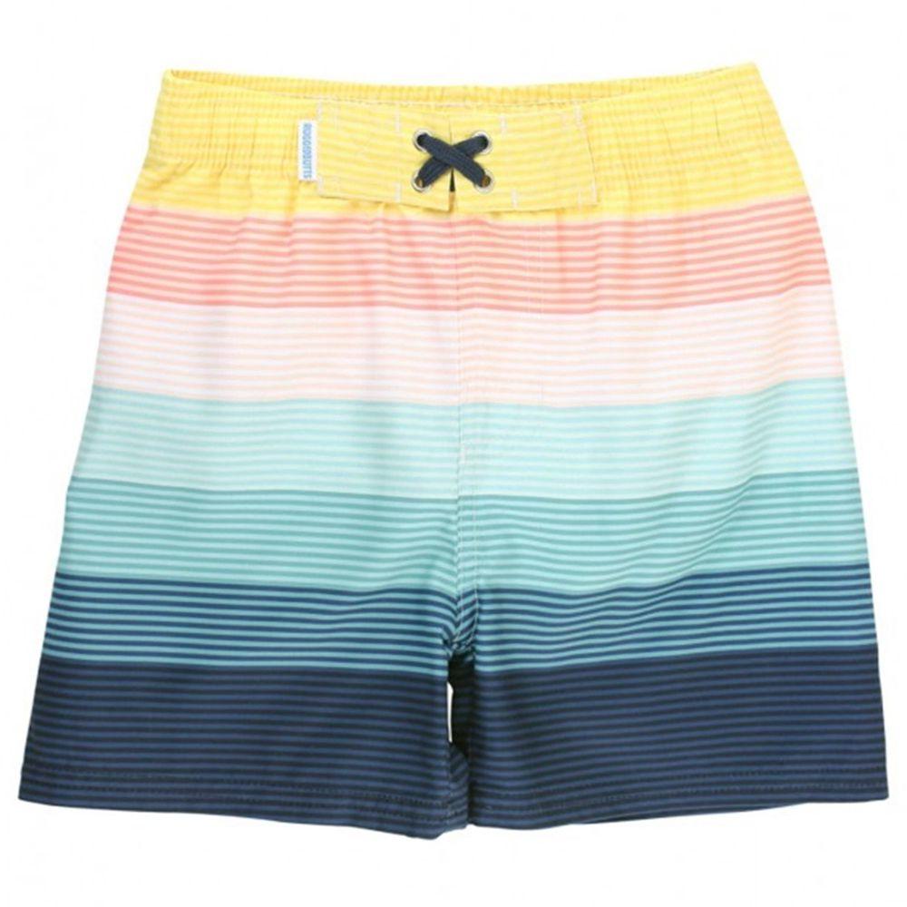 美國 RuffleButts - 小男童UPF 50+防曬泳褲-夕陽彩虹