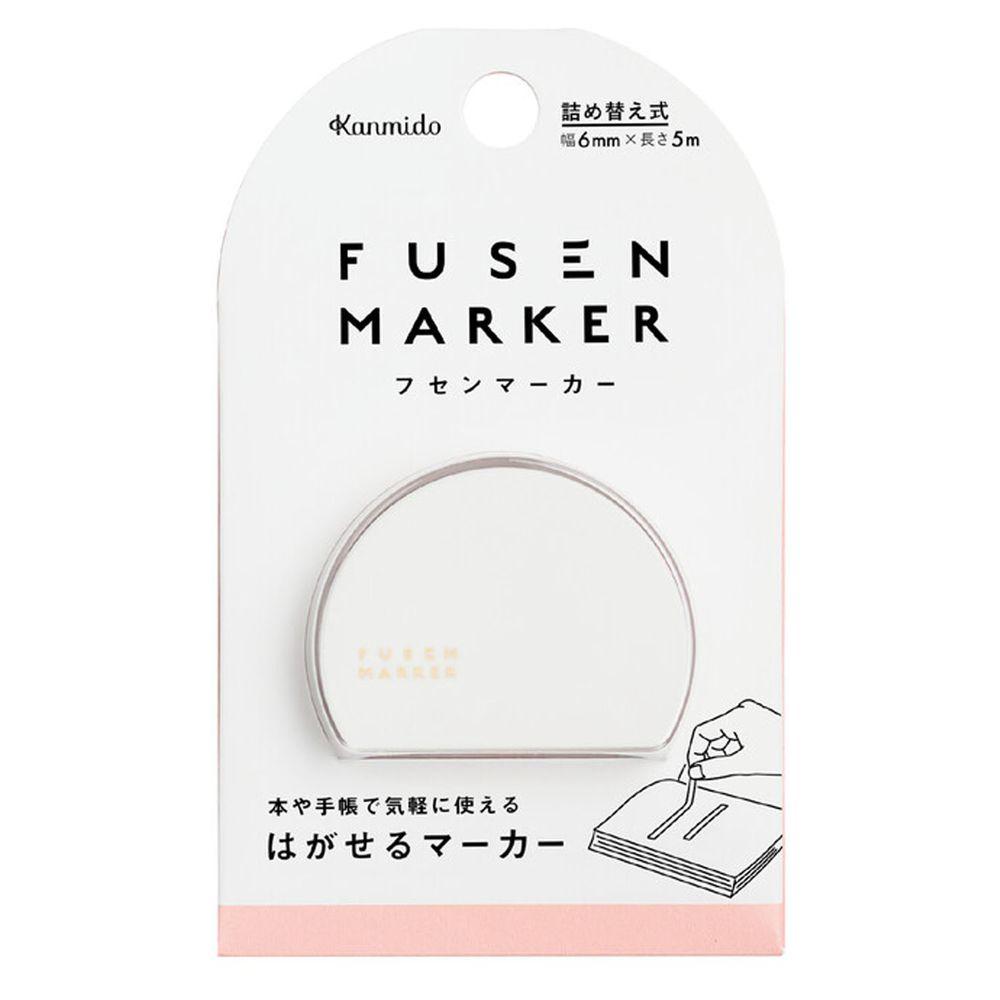 日本文具 Kanmido - 重複黏貼 螢光標記立可帶-粉