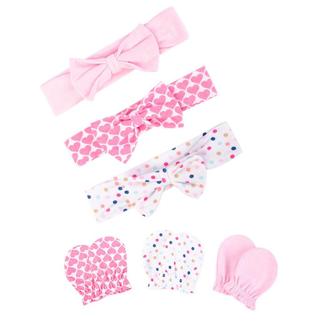 美國 Luvable Friends - 嬰幼兒新生兒髮帶3入組+100%純棉防抓手套護手套3入組-愛心圓點 (單一尺寸)