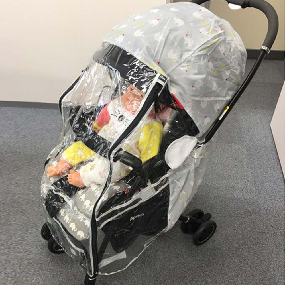 akachan honpo - angelette嬰兒推車用雨罩-大象-灰色