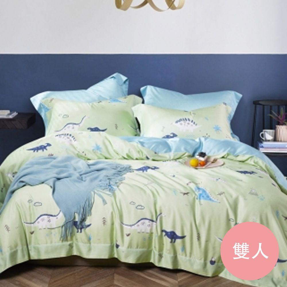 PureOne - 吸濕排汗天絲-恐龍草原-雙人四件式床包鋪棉被套組
