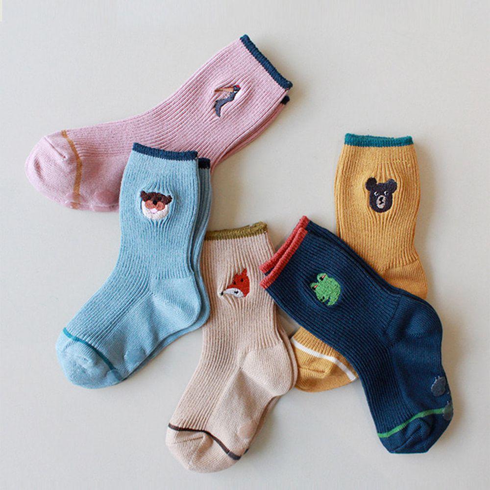 韓國 Kokacharm - 韓國製踝襪-五件組-THINK ANIMALS