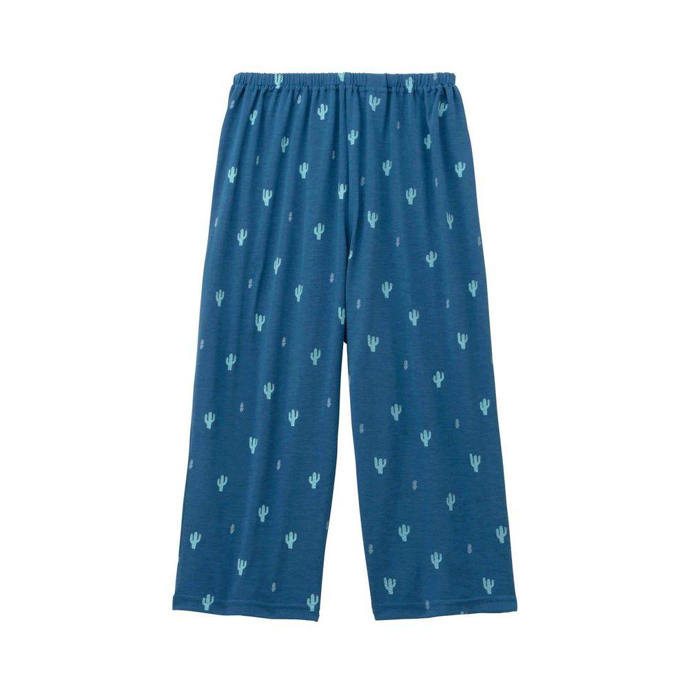 日本千趣會 - (媽媽)接觸涼感舒適睡褲/家居長褲-仙人掌-深藍