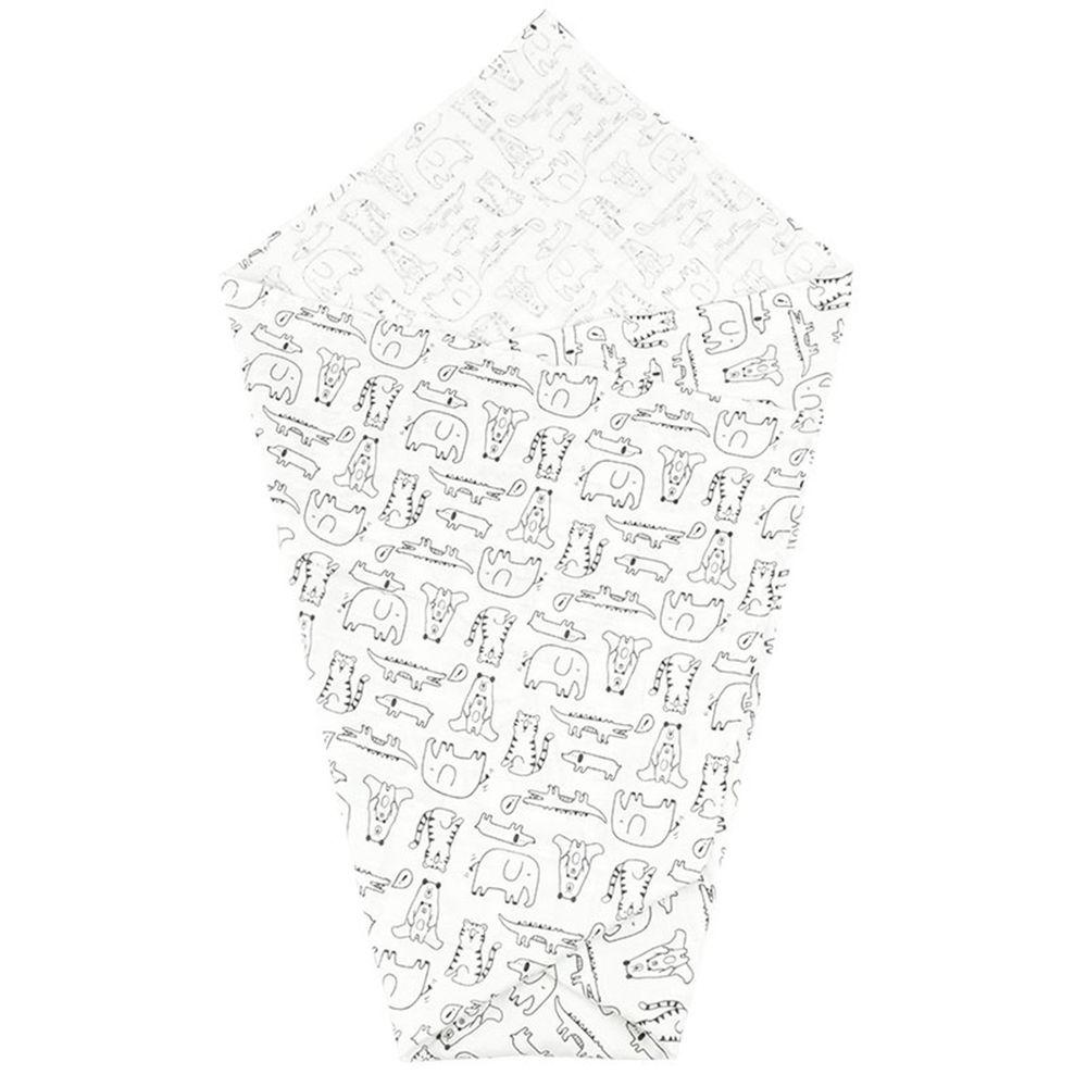 akachan honpo - 彈性穆斯林紗布包巾-動物-白色 (100×100cm)