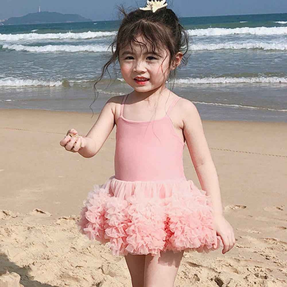 澎澎紗裙兒童泳裝-粉色