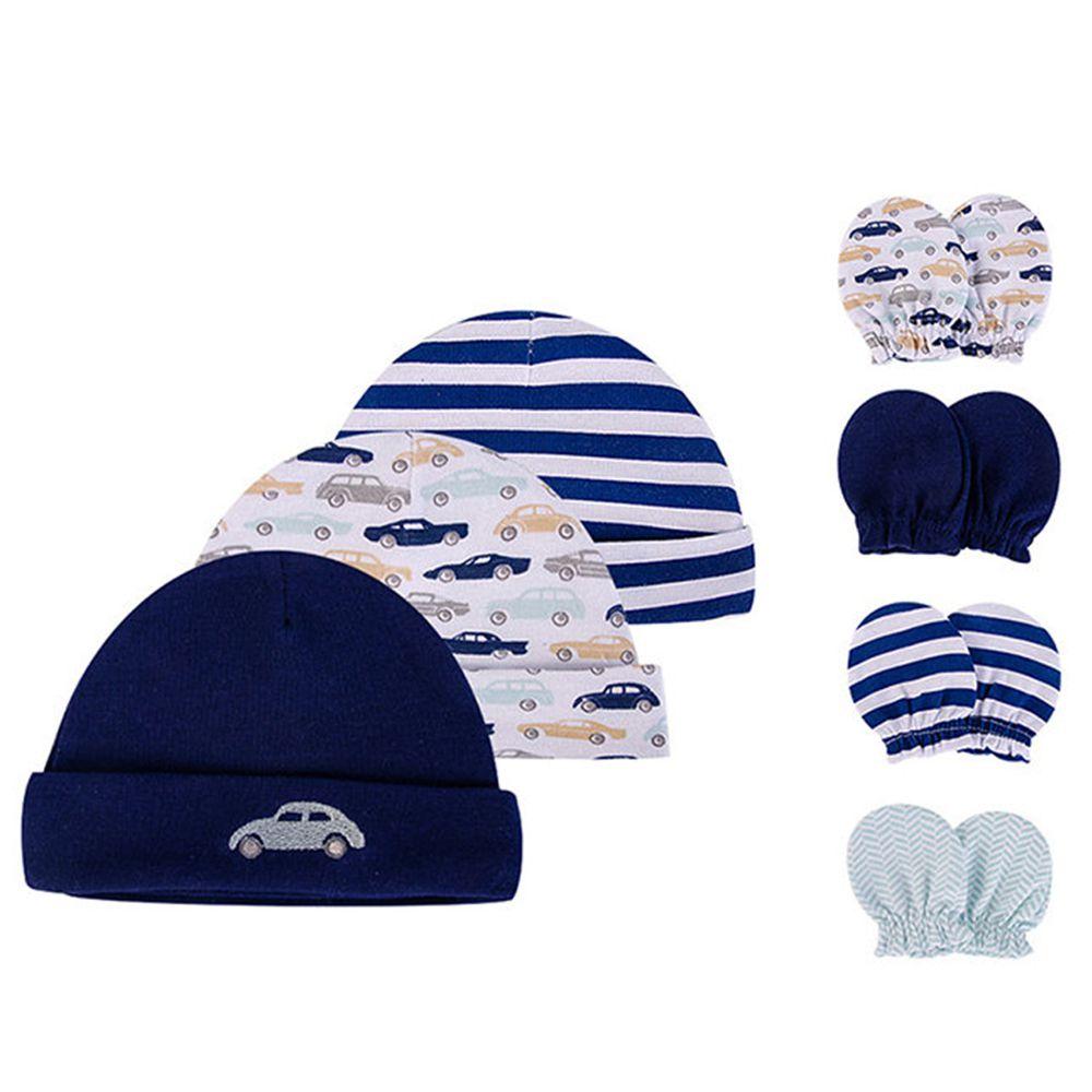 美國 Luvable Friends - 新生兒棉帽 保暖帽3件組+防抓護手套4入組-車車樂園 (單一尺寸)