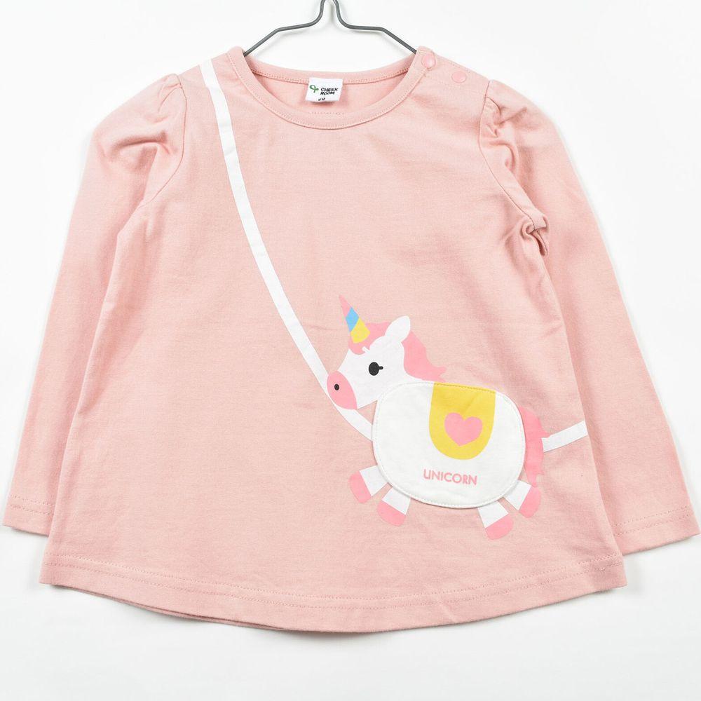 日本 Baby Room - 純棉立體翻翻樂長袖上衣-獨角獸包包-粉