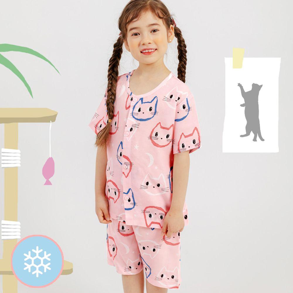 韓國 Mellisse - 韓製涼感嫘縈短袖睡衣/家居服-可愛喵喵