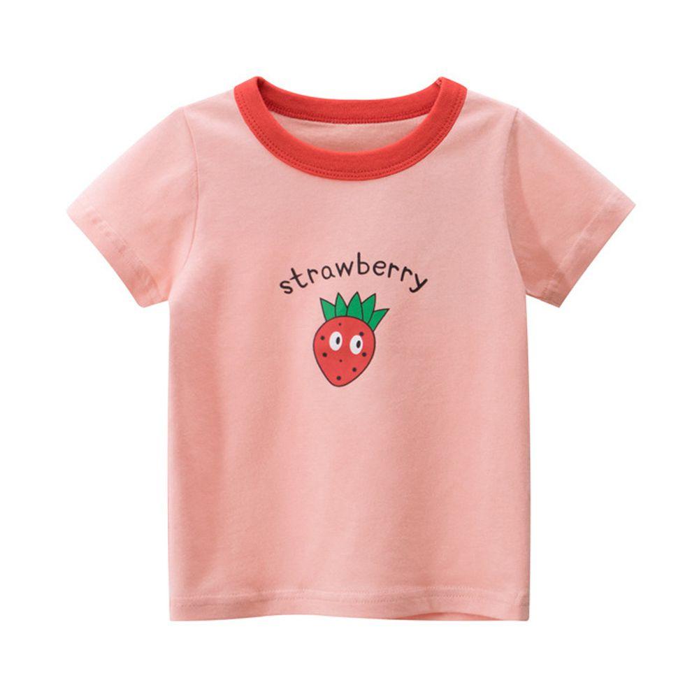 純棉短袖上衣-strawberry草莓-粉紅色