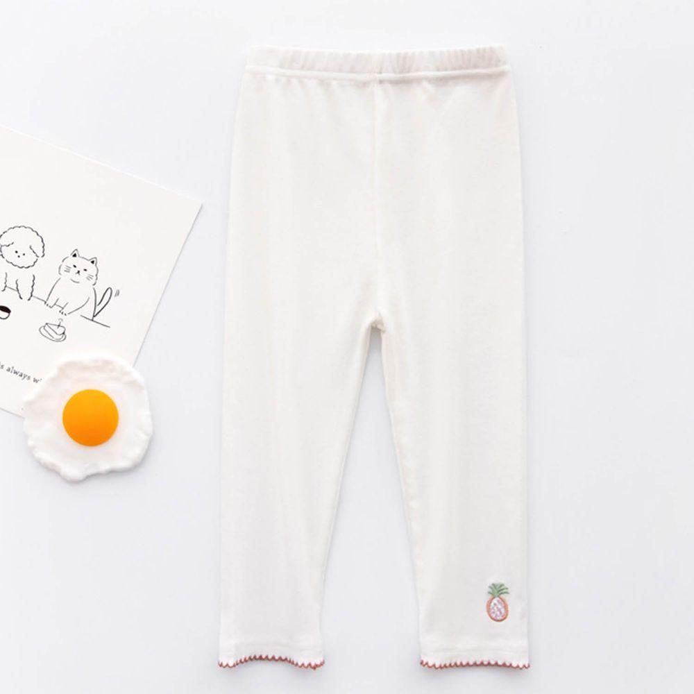 FANMOU - 七分內搭褲(棉質)-刺繡鳳梨-白色