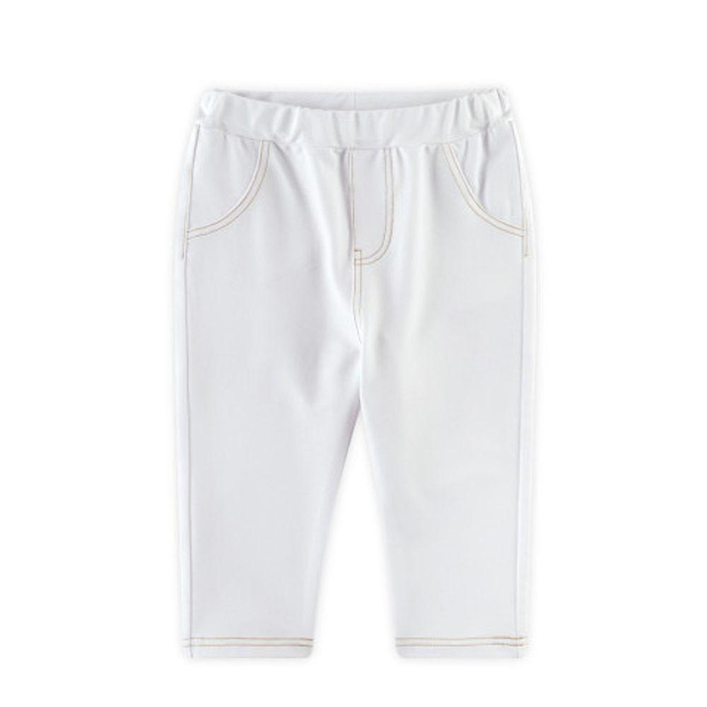 韓國 WALTON kids - 縫線鬆緊褲頭彈力褲-象牙白