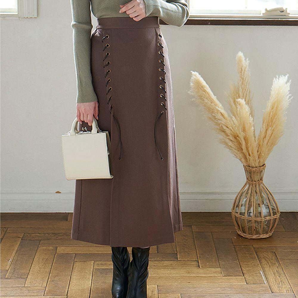 日本 GRL - 雙排繩辮設計A字長裙-摩卡棕