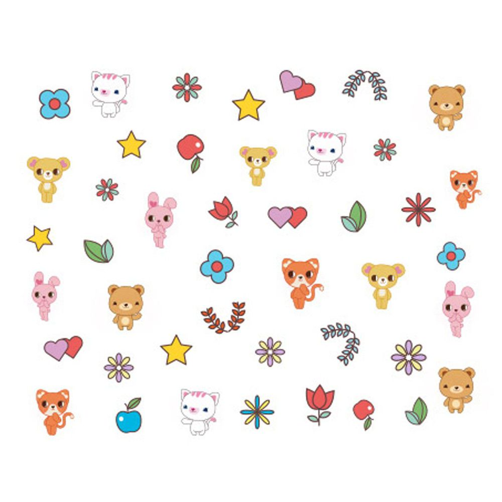 韓國 Pink Princess - 裝飾用指甲貼-動物好朋友