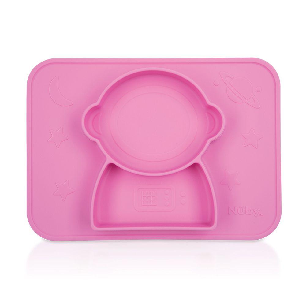 Nuby - 矽膠分隔餐盤-太空人-粉紅
