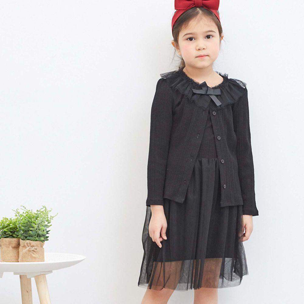 麗嬰房 Little moni - 甜美網紗領邊外套-黑色