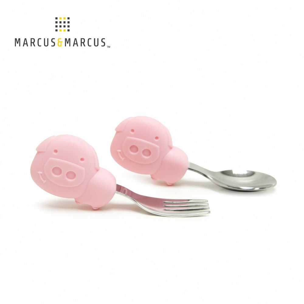 MARCUS&MARCUS - 動物樂園寶寶手握訓練叉匙-粉紅豬