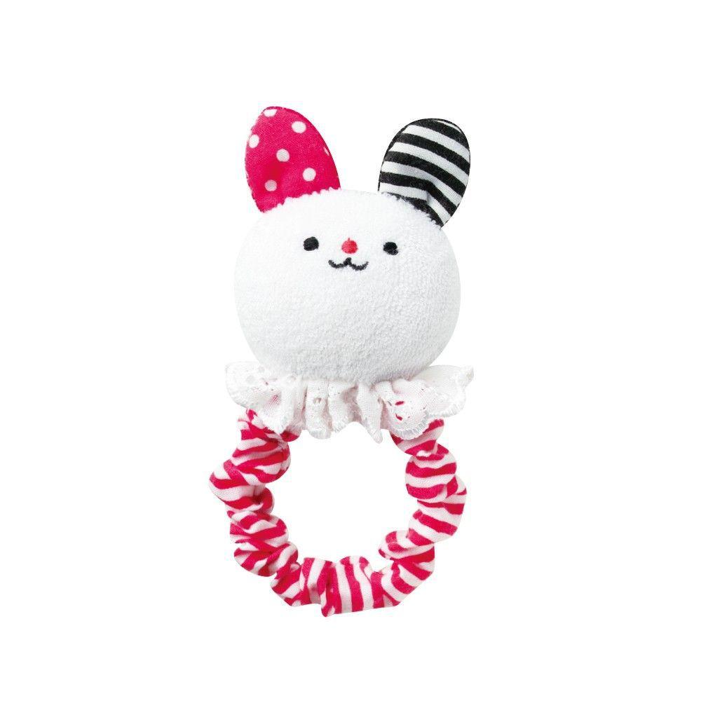 日本 Combi - 兔子布物固齒手搖鈴-3~6個月