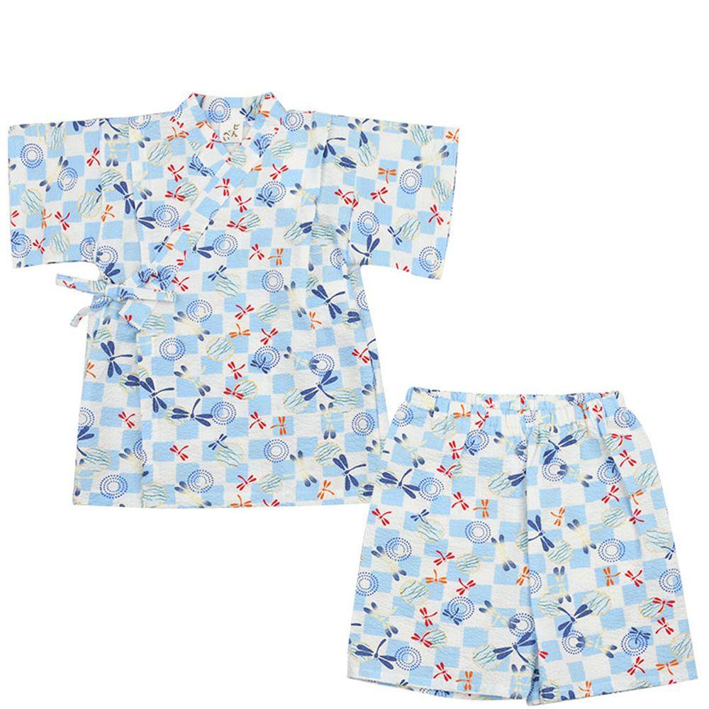 akachan honpo - 幼童兩件式甚平-方格 蜻蜓-藍色
