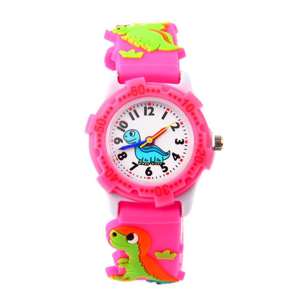 3D立體卡通兒童手錶-可旋轉錶圈-粉色恐龍