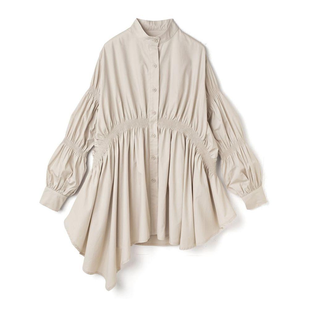 日本 GRL - 不規則長度衣襬抓皺設計長袖襯衫-米