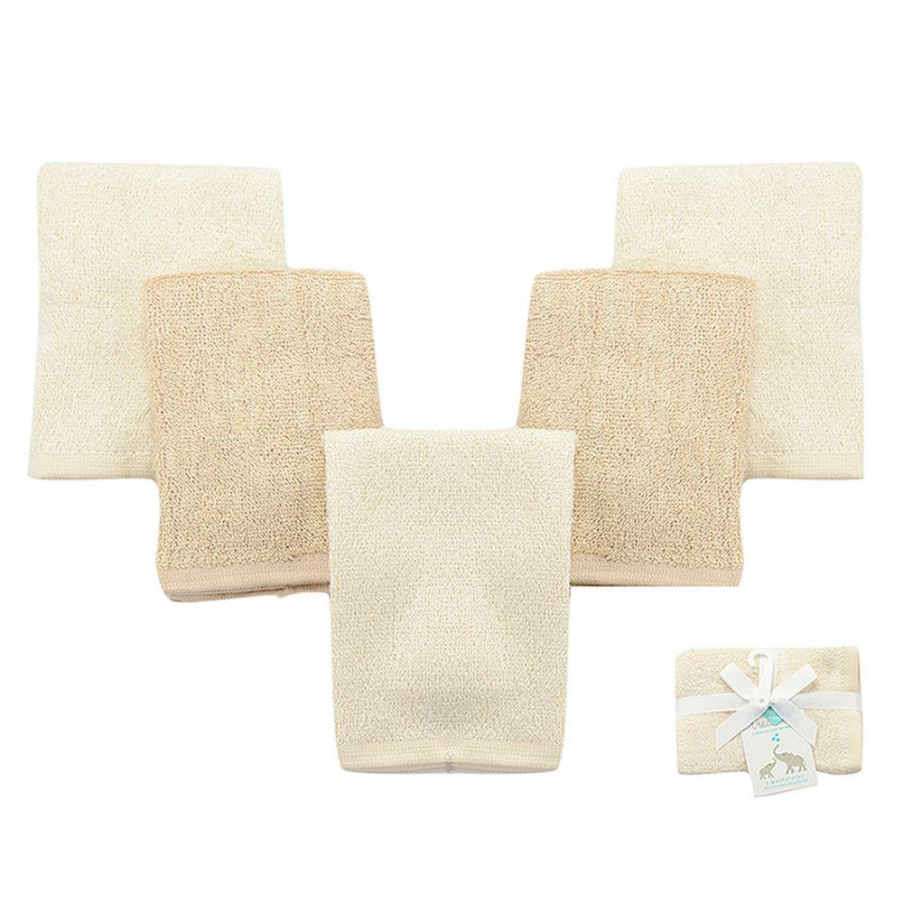 美國 Luvable Friends - 嬰幼兒竹纖維棉紗方巾5入組-米色組