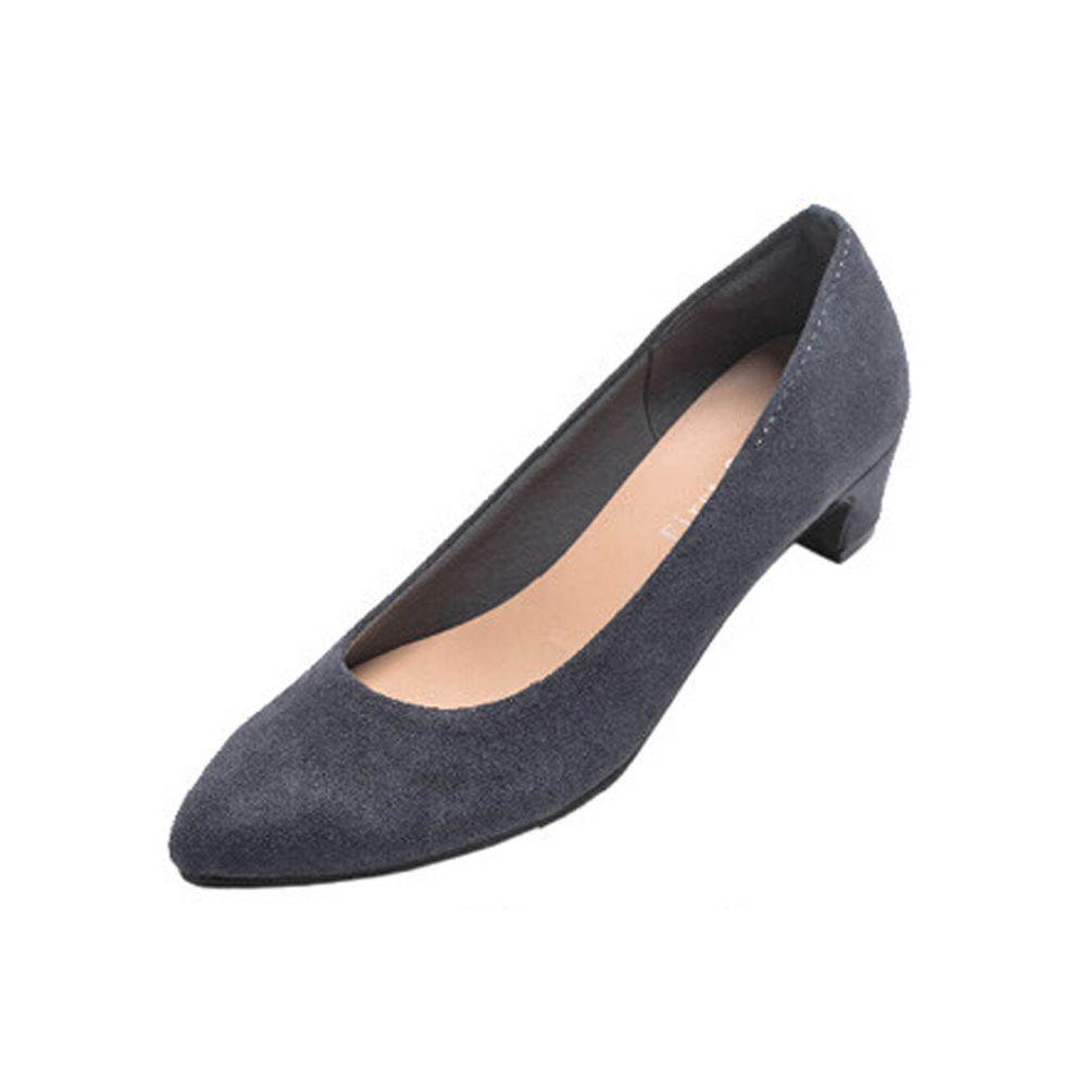 日本女裝代購 - 日本製 柔軟尖頭5.5cm高跟鞋-麂皮-海軍藍