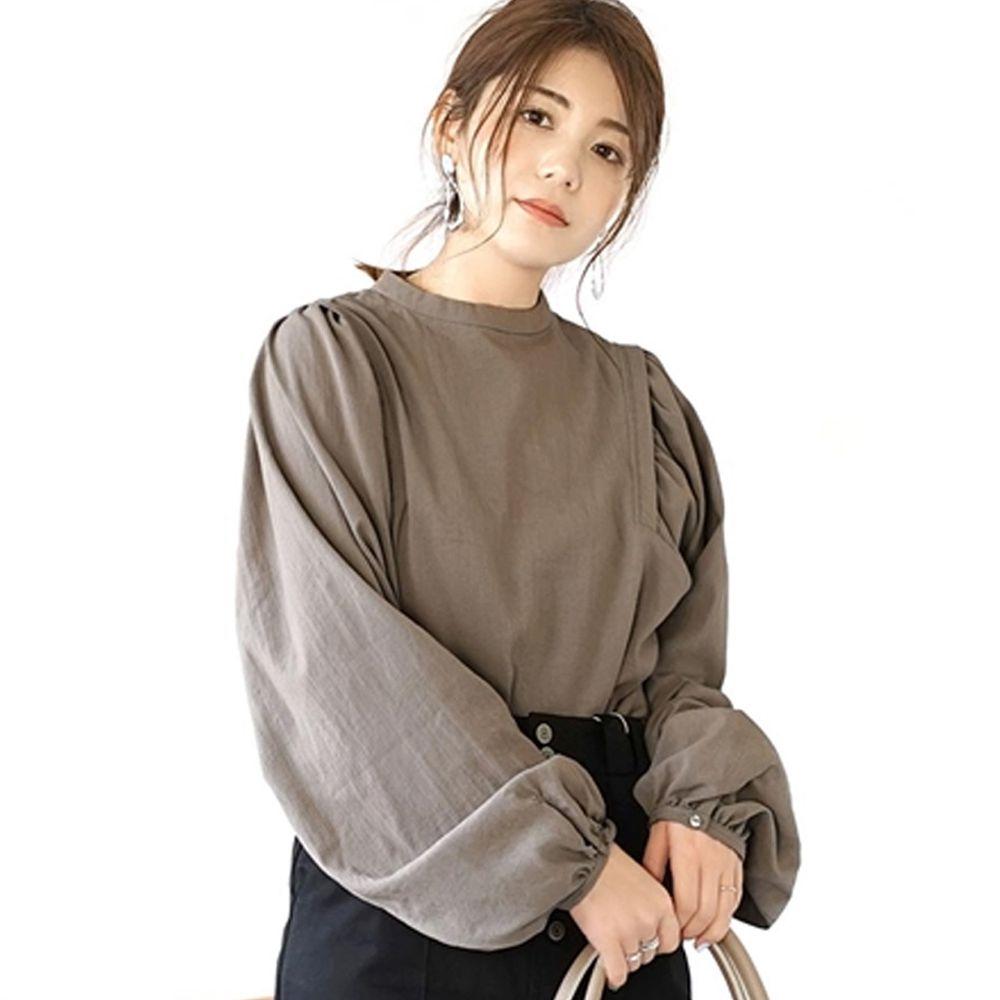 日本 zootie - 特殊抓皺澎袖修身剪裁長版上衣-灰杏