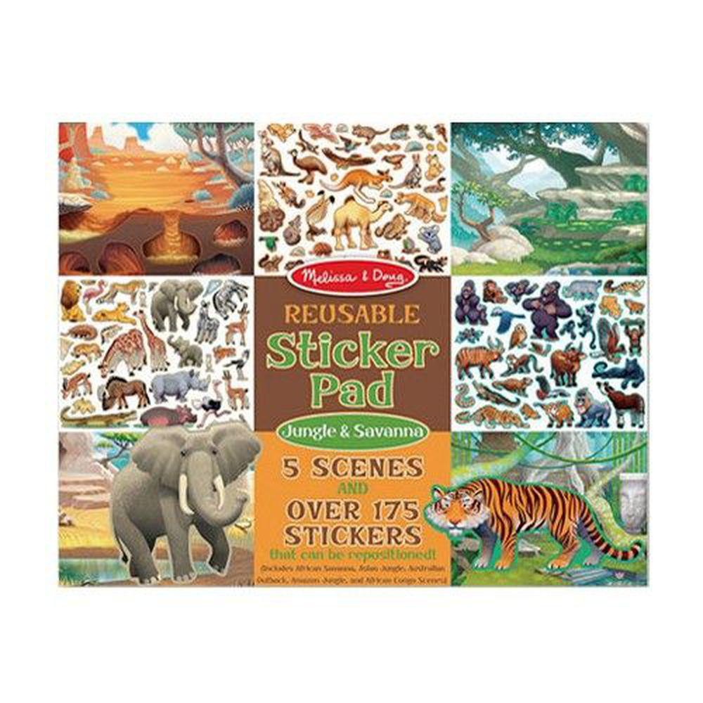 美國瑪莉莎 Melissa & Doug - MD 貼紙簿-可重複貼-熱帶叢林動物