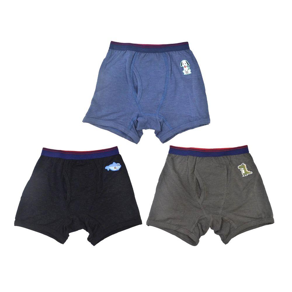 貝柔 Peilou - 天絲棉舒膚平衡童男四角褲-貼布繡-3件組-鯊魚+鱷魚+小狗-黑+灰+藍