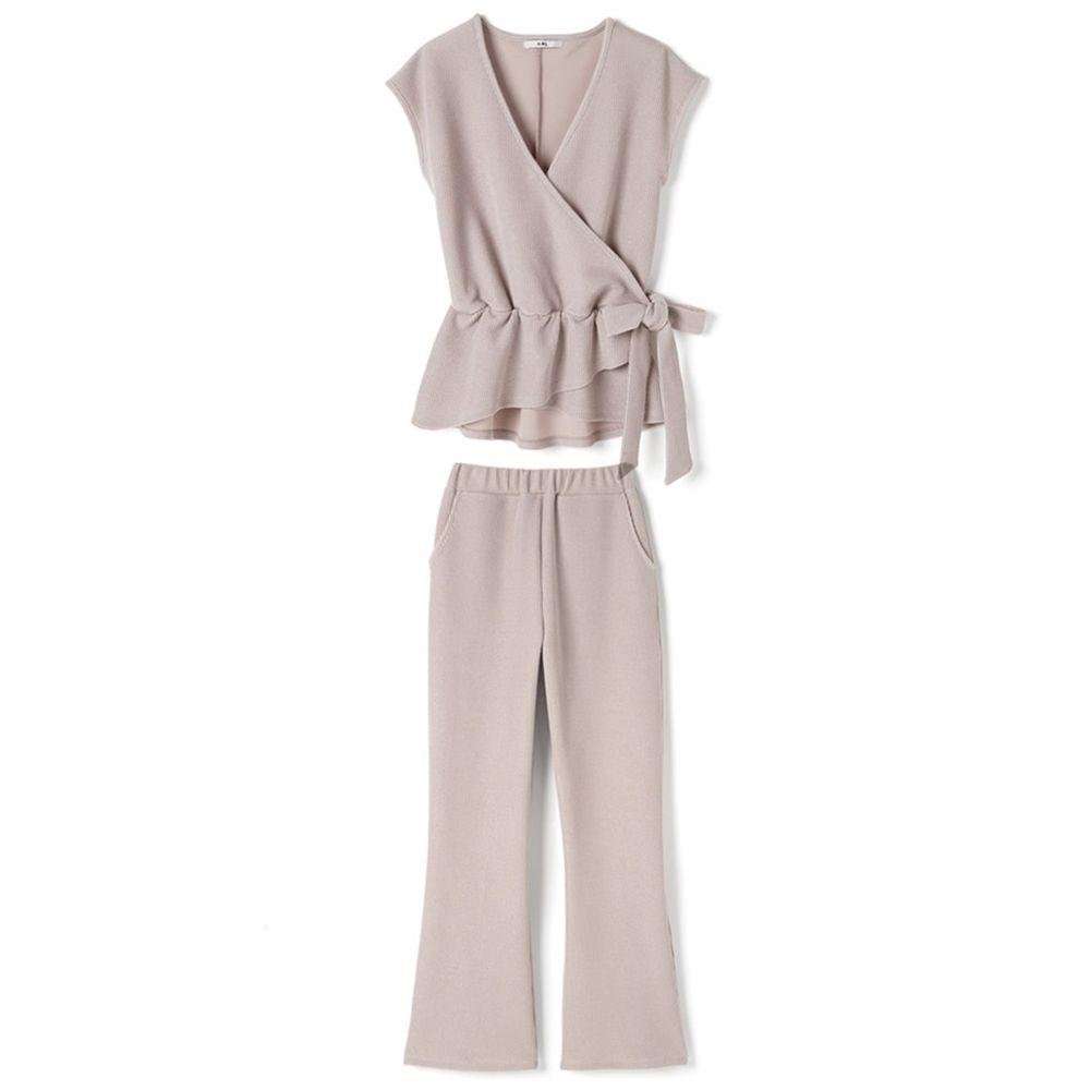 日本 GRL - 交叉荷葉綁帶背心X長褲套裝-氣質杏