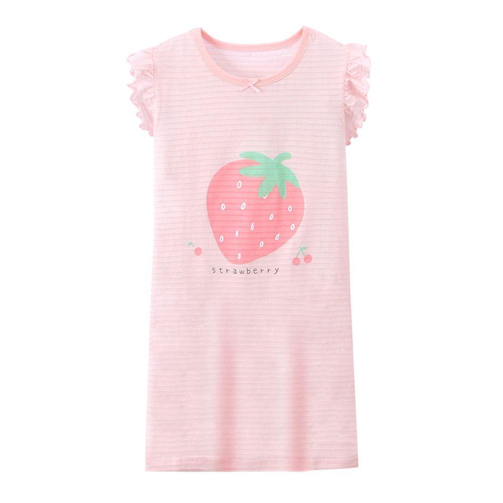 竹節棉荷葉袖睡衣/睡裙-大粒草莓-粉色
