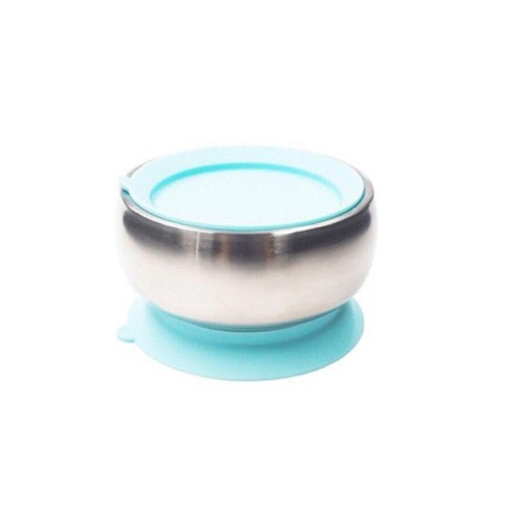 美國little.b - 316雙層不鏽鋼吸盤碗-寶貝藍-(碗*1, 上蓋*1, 吸盤*1)