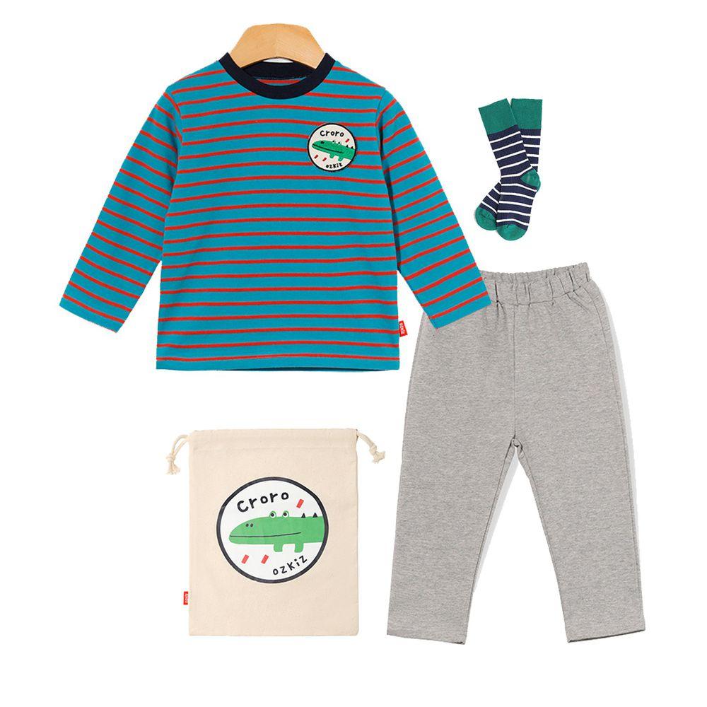 韓國 OZKIZ - 條紋動物套裝4件組-鱷魚-(含上衣、褲子、襪子、束口袋