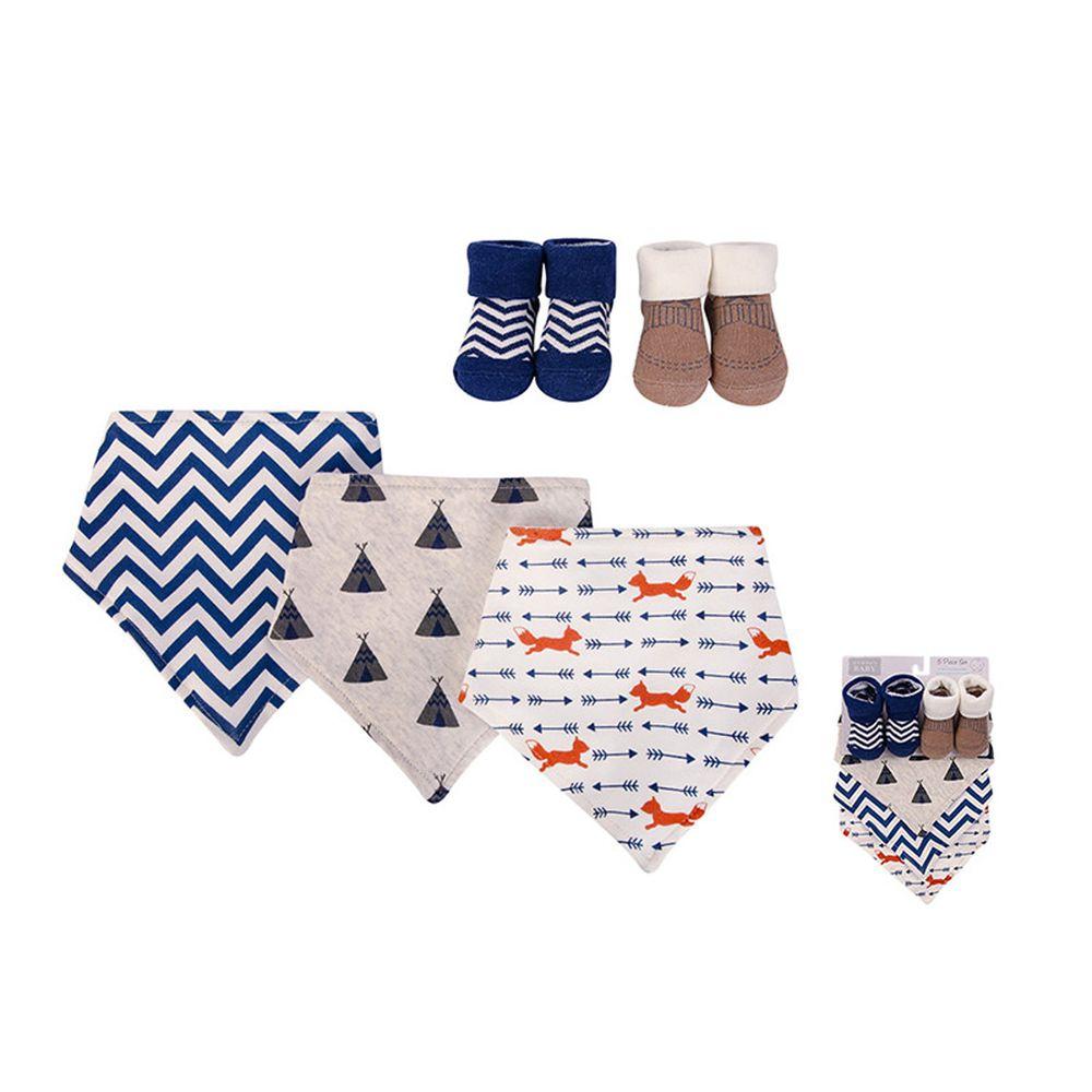 美國 Luvable Friends - 100%純棉三角領巾3入組+短襪2入套裝組-狐狸&劍