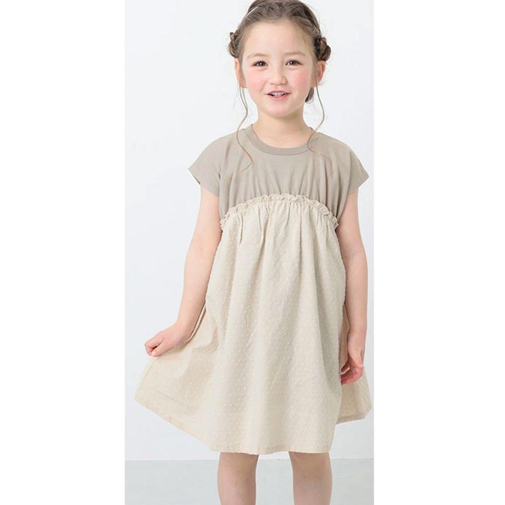 日本 devirock - 純棉短袖洋裝-杏X米