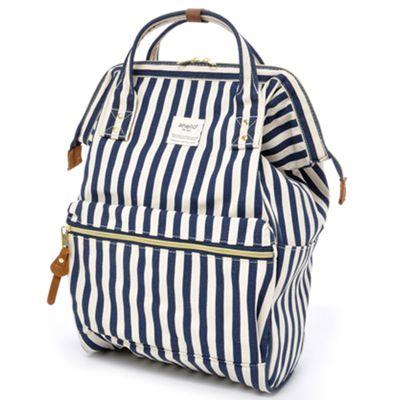 日本 Anello - 大開口牛津布後背包-Regular大尺寸-藍條紋