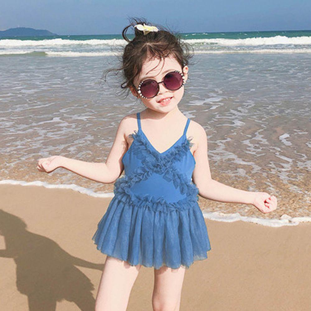 前網紗兒童泳裝-藍色