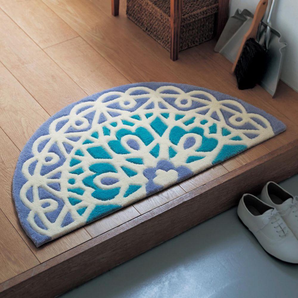 日本千趣會 - 質感長毛腳踏墊(玄關/房門)附贈止滑墊*2-半圓蕾絲圖騰-藍色系