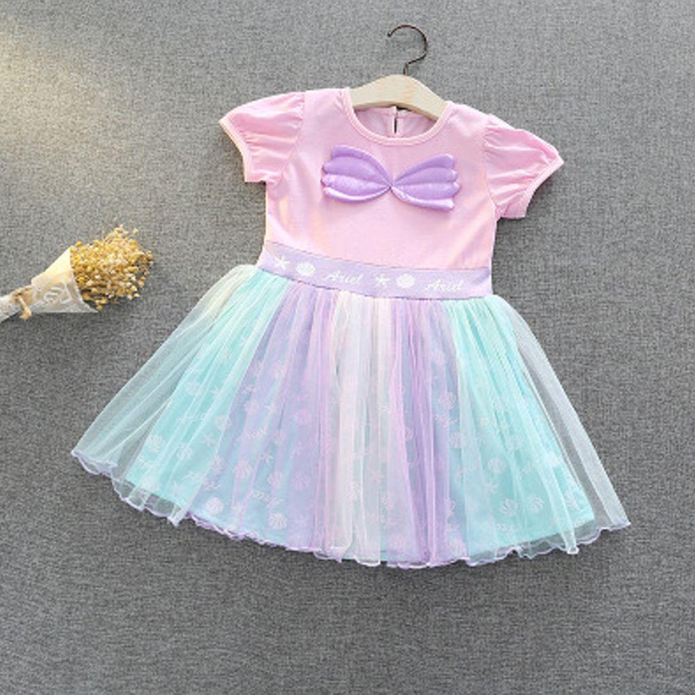 短袖造型公主裙-粉紫海洋
