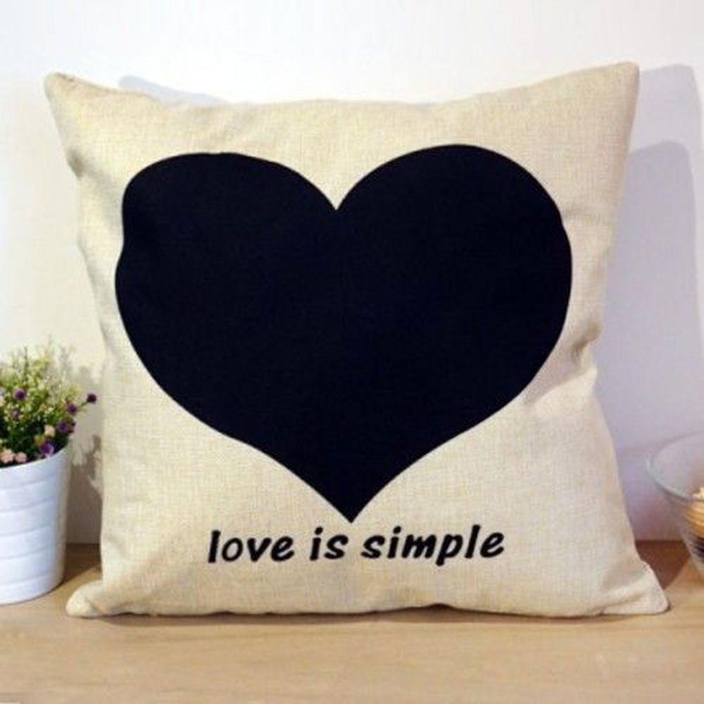 TROMSO - 品味英倫棉麻抱枕-U28簡單之愛-44x44cm (枕套*1+枕心*1)