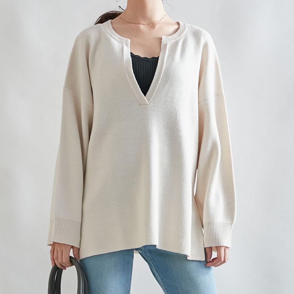 日本女裝代購 - 深V領立體線條針織毛衣-象牙白 (M(Free size))