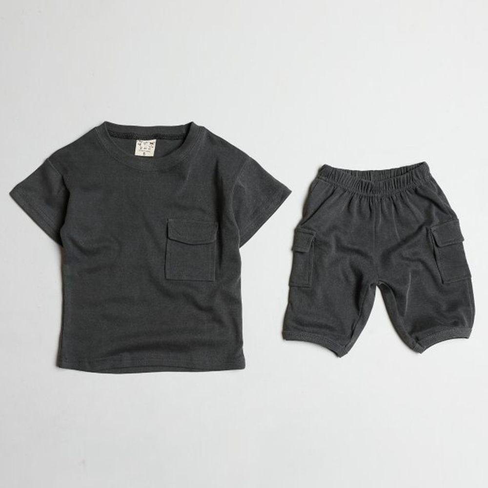 韓國製 - 天絲棉混紡套裝-深灰