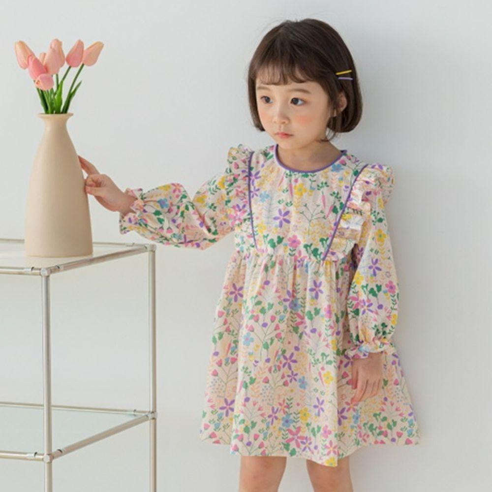 韓國 Orange Mom - 彩色花園高腰洋裝-粉紅