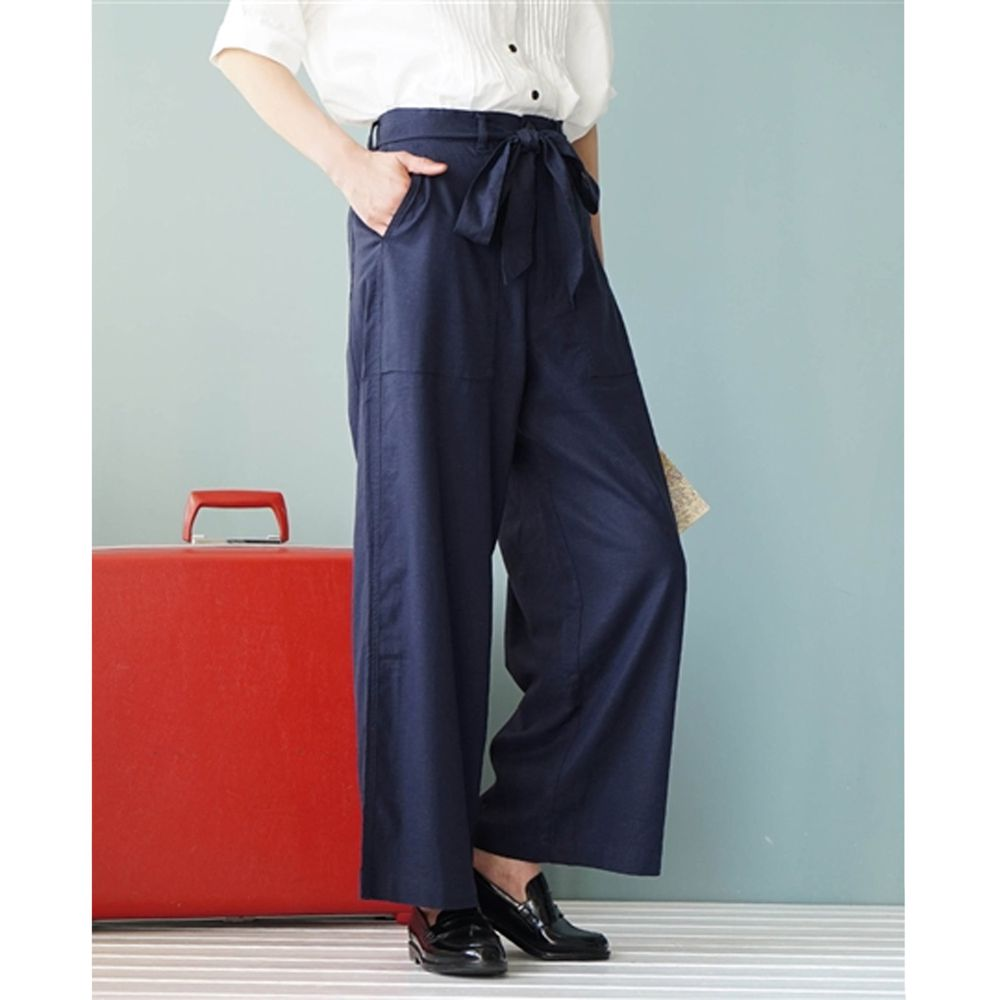 日本 zootie - 麻料舒適綁帶寬褲-深藍